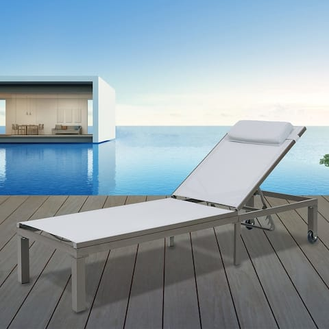 Crestlive Products Adjustable Outdoor Chaise Lounge Chair with Wheels - 75.98*24.02*13.19 inches