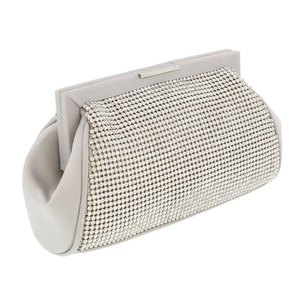 Scheilan Beige Fabric Double Sided Crystal Paneled Clutch/Shoulder Bag - 7-4.5-2.5