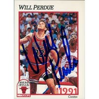 Signed Perdue Will Chicago Bulls 1991 NBA Hoops Basketball Card autographed