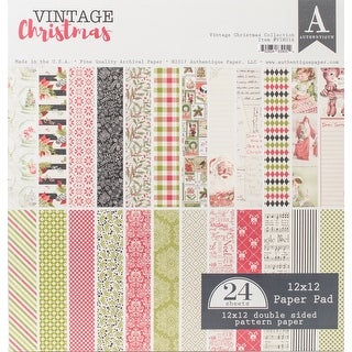"Authentique Double-Sided Cardstock Pad 12""X12"" 24/Pkg-Vintage Christmas, 12 Designs/2 Each"