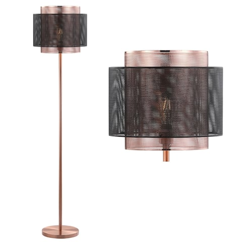 """Tribeca 60.5"""" Metal LED Floor Lamp, Copper/Black by JONATHAN Y - 60.5"""" H x 13.75"""" W x 13.75"""" D"""