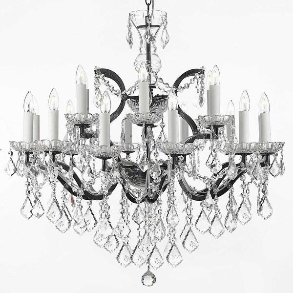 19th Baroque Iron & Crystal Chandelier Lighting H28 x W30