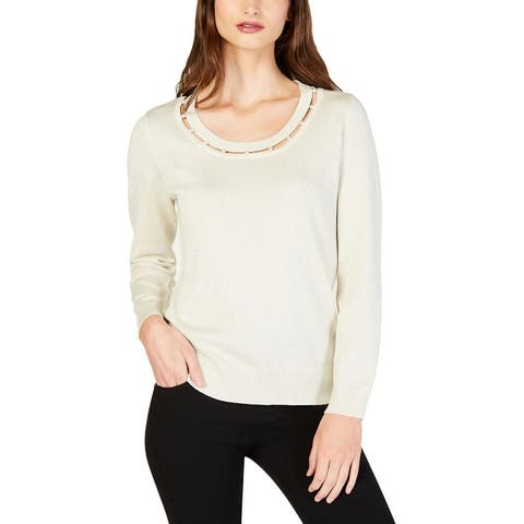 NY Collection Womens Petites Pullover Sweater Metallic Embellished