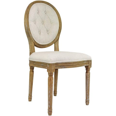 2xhome Cream Linen/ Beige Wood French Vintage Dining Chair with Button Tufting