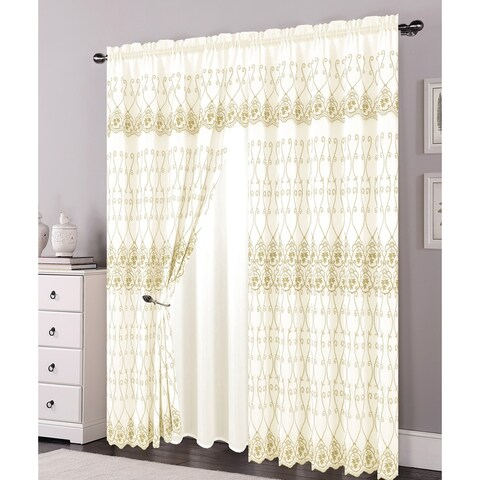 Alexis Embroidered Panel With Attached Valance and Backing, Beige-Gold, 54x84+18 Inches