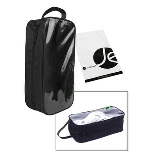"JAVOedge Clear Transparent Window Durable Nylon Zipper w/ Carrying Handle Shoe Bag (13"" x 6"" x 4"") for Travel, Luggage - Black"