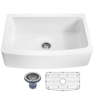 Link to ANZZI Mesa Matte White Solid Surface Farmhouse 33 in. Single Bowl Kitchen Sink with Strainer Similar Items in Sinks