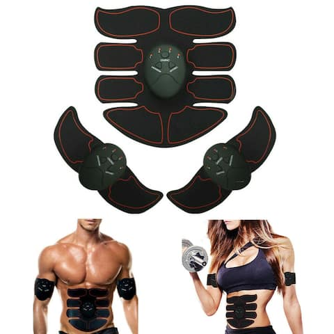 EMS AB & Arms Muscle Simulator ABS Training Home Abdominal Trainer Set - Black