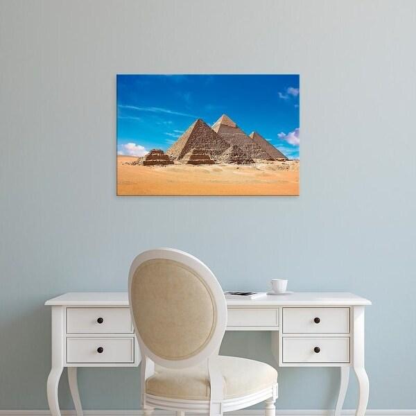 Easy Art Prints Miva Stock's 'View Of All Three Great Pyramids' Premium Canvas Art