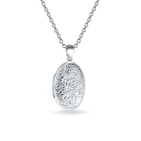 Vintage Style Embossed Sun Flower Round Locket Pendant Engravable 925 Sterling Silver Necklace For Women