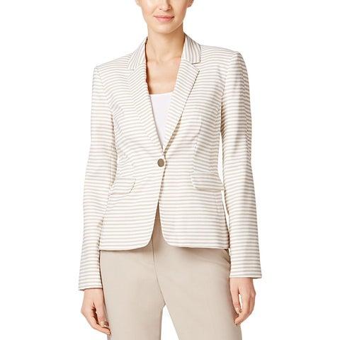 Calvin Klein Womens Petites One-Button Blazer Striped Notch Collar