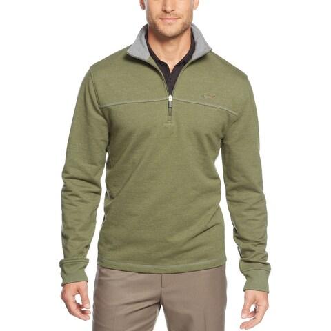 GREG NORMAN Pieced Quarter Zip Golf Sweatshirt Summer Olive Green Small S $75