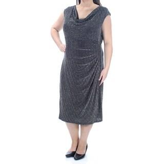 Womens Black Silver Cap Sleeve Midi Sheath Dress Size: 18W