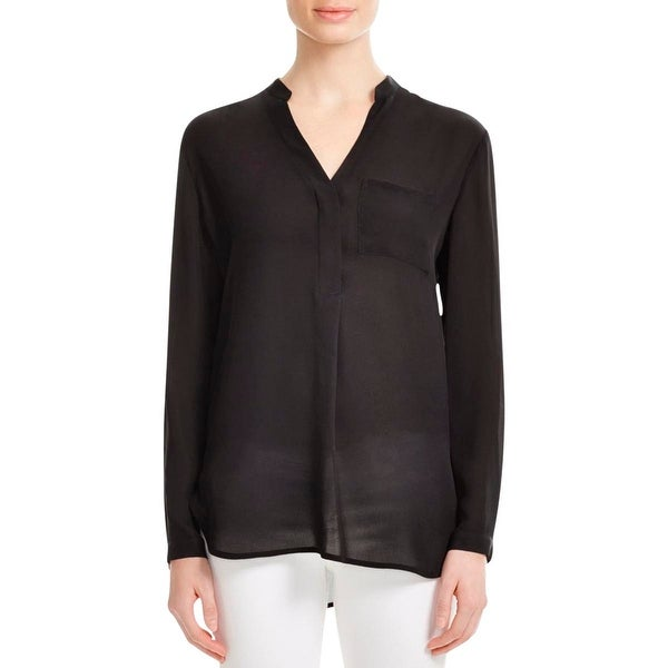 37a3c8b495bac1 Shop Vince Womens Blouse Pocket Pop Over V Neck - 6 - Free Shipping Today -  Overstock.com - 17128659