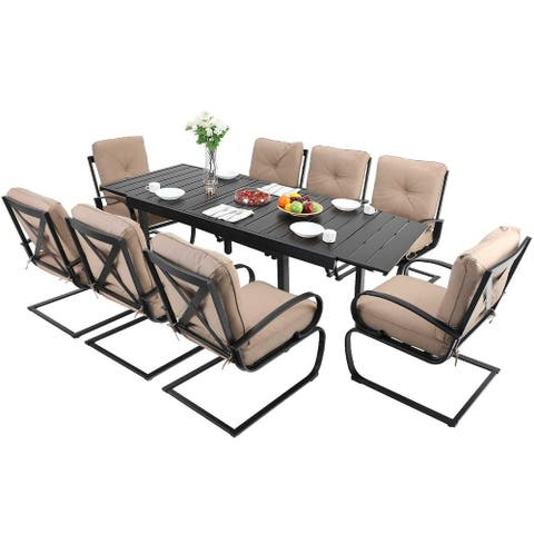 MFSTUDIO 9PCS Outdoor Patio Dining Set, 8 Spring Motion Chairs with Cushion, 1 Rectangular Expandable Table, Beige