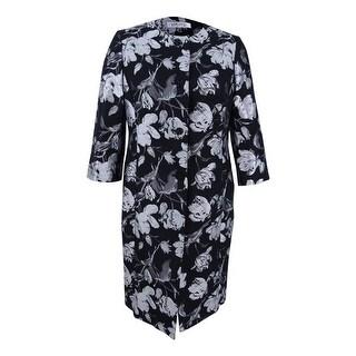 Kasper Women's Plus Size Floral Jacquard Button Front Jacket - Silver Multi