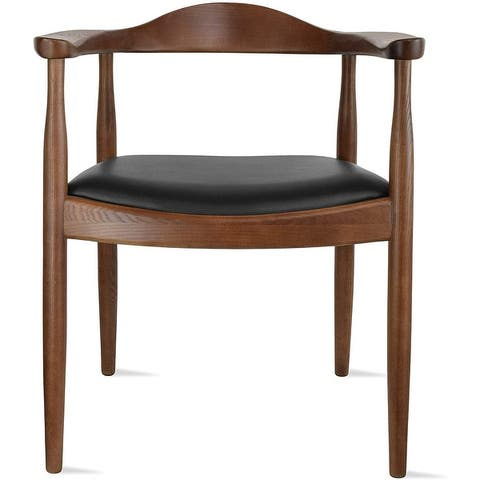 2xhome Natural Solid Real Oak Wood PU Leather Cushion Seat Kennedy Chair Armchair Dining Hans Wegner Style