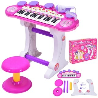 Costway 37 Key Kids Musical Electronic Keyboard Organ Piano Microphone Synthesizer Stool