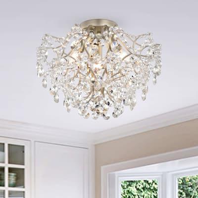 Dalia Elegant Indoor 3-light Champagne Crystal Flush Mount