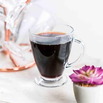 JoyJolt Declan Glass Coffee Mug, Tea Cup with Handle, 16 oz (Set of 6)