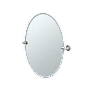 """Gatco 4859 Max 23-1/2"""" Oval Beveled Wall Mounted Mirror with Satin Nickel Accents"""
