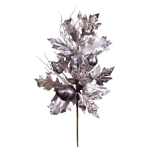 """Pack of 6 Silver Metallic Leaf Christmas Spray with Pears and Acorns 25"""""""