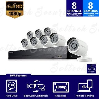 SDH-B74081-1TB - Samsung 8 Channel 1080 Full HD HD Video Security System with 8 Outdoor Cameras