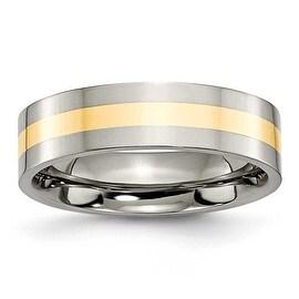 Chisel 14k Gold Inlaid Polished Titanium Ring (6.0 mm) - Sizes 6-13