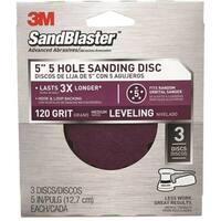 "3M 9423ES SandBlaster Sanding Discs, 5"" x 5-Hole, Medium 120-Grit, 3-Pack"
