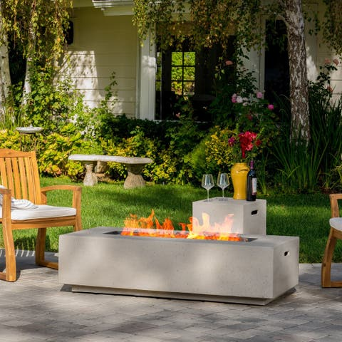 Aidan Outdoor 50,000 BTU Rectangular Fire Table with Tank Holder by Christopher Knight Home