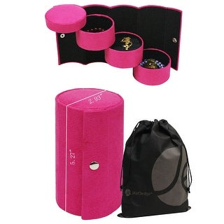 Hard Tube Shaped Rollup Jewelry Box with Multipule Tier Small Boxes, Snap Closure and Bonus Drawstring Bag - Dark Pink