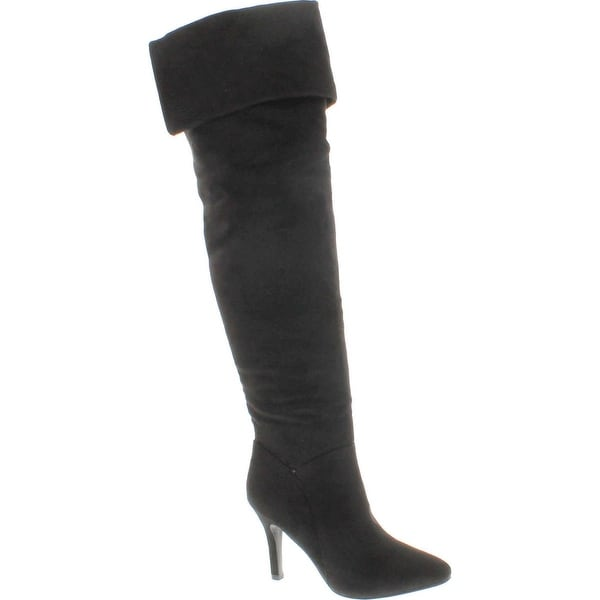 Forever Womens Alexia Pointed Toe Over The Knee Thigh High Stiletto Slouchy Boot Shoes - Black
