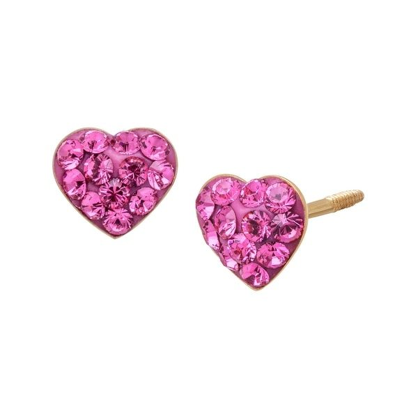 Crystaluxe Heart Stud Earrings with Rose Swarovski Crystals in 14K Gold