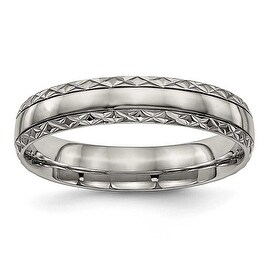 Titanium Polished Grooved Criss Cross Design Ring (5 mm)