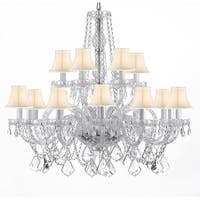 Swarovski Crystal Trimmed 18 Light Chandelier with Shades - Silver