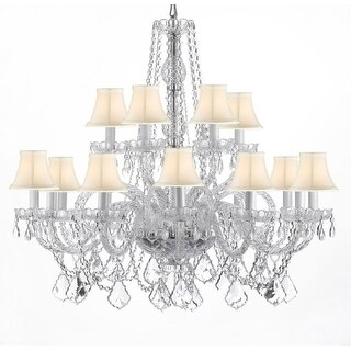 Swarovski Crystal Trimmed Chandelier! Crystal Chandelier Lighting With White Shades - Silver
