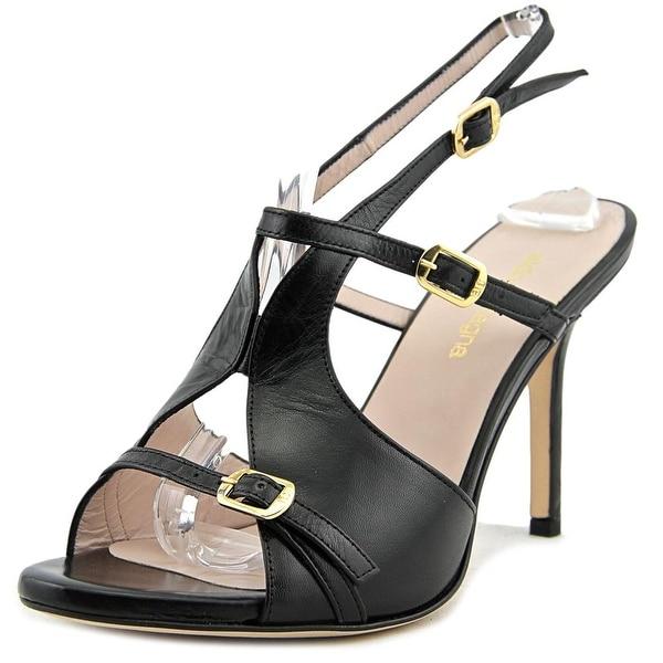 Aldo Castagna Demi Women Open-Toe Leather Black Slingback Heel