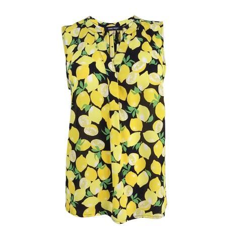 Nine West Women's Lemon-Print V-Neck Shell Top