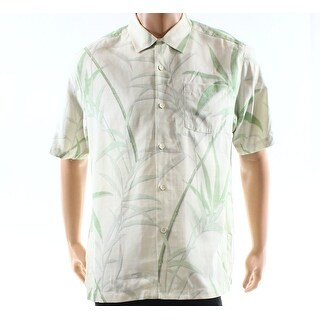 Tommy Bahama NEW Beige Mens Size Medium M Printed Button Down Shirt