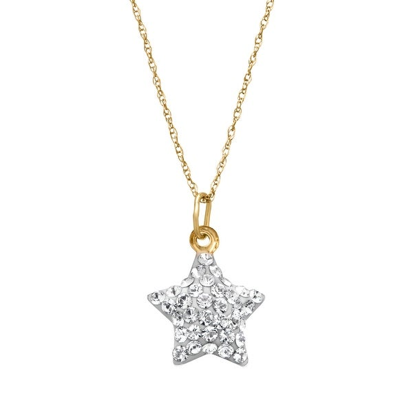 Crystaluxe Puffed Star Charm Pendant with Swarovski Elements Crystals in 10K Gold