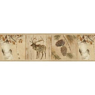 Brewster TLL01502B Tarpon Wheat Birch River Border Wallpaper