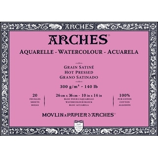 Arches 1795073 10 X 14 140 Lb 300g Hot Press Watercolor Block 20 Sheets Natural White