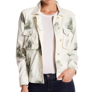Abound NEW Beige Green Womens Size XXS Printed Dual-Pocket Jacket