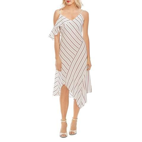 Vince Camuto Womens Midi Dress Asymmetric Ruffled
