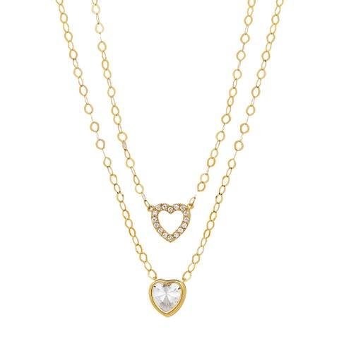 Duo Hearts Layered Pendant with Crystals in 10K Gold, 17 Inches