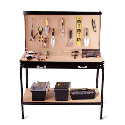 Costway Multi-Purpose Workbench Tools Storage Steel Frame Workshop Drawer Peg Boar