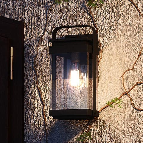 """Luxury Vintage Outdoor Wall Light, 12""""H x 6""""W, with Industrial Style, Natural Black Finish by Urban Ambiance - 6"""