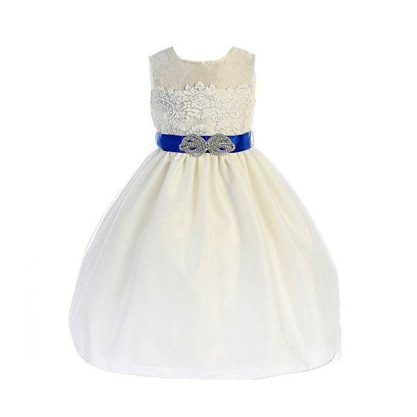 bb50ee329054 Shop Crayon Kids Little Girls Ivory Royal Blue Brooch Lace Flower ...