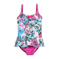 Azul Baby Girls Pink Blue Floral Skirted Amazonia One Piece Swimsuit