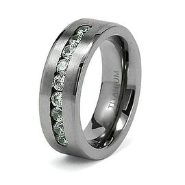 8mm Titanium Ring with CZ